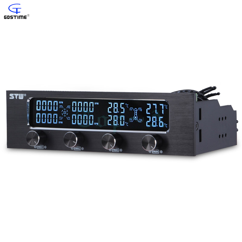 Gdstime-6041 5.25 Drive Bay Front LCD Panel 4 Fan Speed Controller CPU Computer Case Temperature Sensor<br>