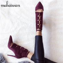 Sexy Wine Red Lace Up Women Pointed Toe Ankle Boots Suede Booties High Heel Summer Boots Women Pumps Hollow Out Botines Mujer