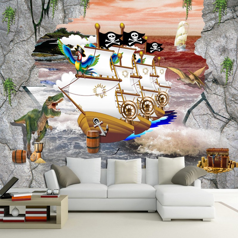 Free Shipping 3D Stereo Pirate Ship Hooded Wallpaper Living Room Television Sofa Background Wall Mural Mall Shop wallpaper(China (Mainland))