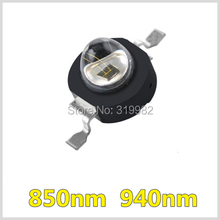 50pcs LED IR Diode 3W High Power 850nm 940nm Emitter 140 Angle 700ma Black Chip Beads Infrared for CCTV Camera Night Vision LEDs