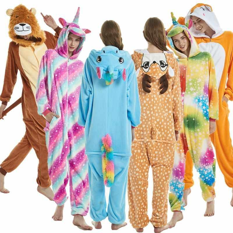 Пижамы Onesie зимние фланелевые пижамы для мужчин женщин Пижама в виде  животного для взрослых Хэллоуин Рождественский c9696c2565ec5