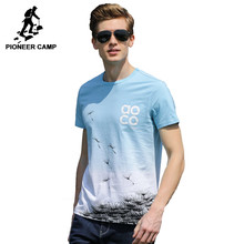 Pioneer Camp fashion Gradient T shirt men brand clothing new design summer T-shirt male top quality 100% cotton Tees ADT702188