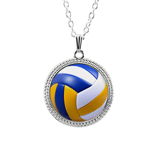 Men Vintage Volleyball Pendant Necklace Antique Chain with Collares Sports Ball Volleyball Player Gift HZ1