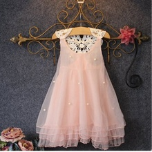 Girls Dress 2016 new Princess Dresses Sleeveless summer Appliques Floral Design for Girls Clothes Party kids Dress Girl clothing