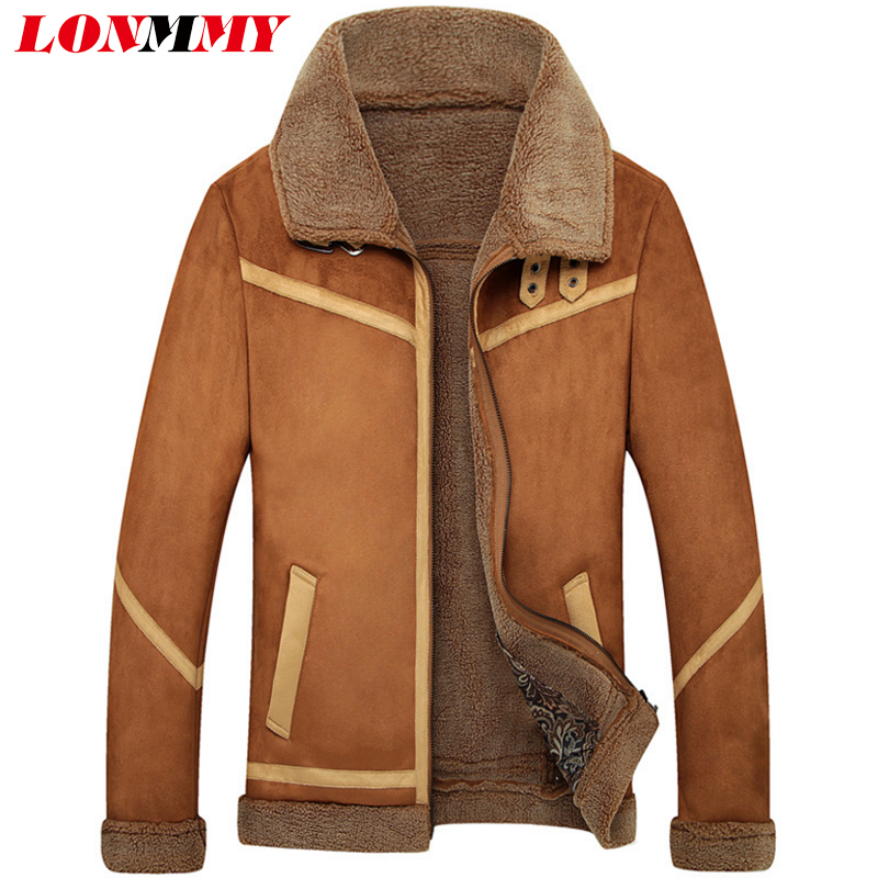 LONMMY M-4XL Bomber jacket men coat Military style Outerwear Coats jacket Plush liner thick warm windbreaker Casual 2017 Winter