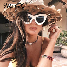 WHO CUTIE 2017 Big Retro 60s Cat Eye Butterfly Sunglasses Superstar Women Oversized Cateye Sexy Sun Glasses Vintage Oculos OM308