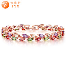 FYM Brand New Luxury Gold Color Plant Bracelet with Colorful AAA Zircon Crystal Bracelet Femme Bracelets for Women Wedding Party