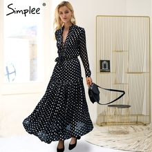 Simplee Elegant polka dot long dress women Long sleeve lace up v neck maxi dress plus size robe 2018 autumn vintage party dress(China)