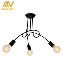 Hot Sale Fashion Nordic American restaurant Design 3/5 heads Ceiling Lights for Home Edison Ceiling Light Iron Lighting