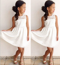 Summer Lace White Kids Girls Sleeveless Dresses Toddler Baby Girls Lace Princess Party Dress Fashion Clothes Sundress 2-11Y