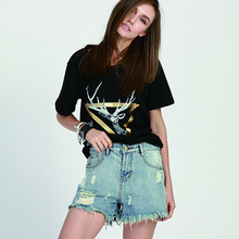 Summer Vintage Women Denim Shorts Retro Denim Shorts Ripped Jeans Shorts with Hole pantalones cortos mujer