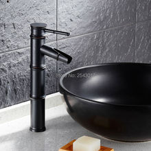 Newly Euro Elegant Black Faucet Bamboo Style Faucet Bathroom Basin Mixer Deck Mounted Single Handle Water Taps ZR269