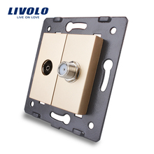 Livolo EU Standard Socket Accessory For DIY Products,The Base of Socket TV+ SATV Socket VL-C7-1VST-13,Golden(China)