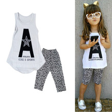 Hot New 2-7 Y Summer Fashion Baby Girls Outfit Pullover Print Star Vest Leopard Pants Kids Fashion Casual Sets