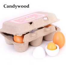 Candywood Mother Garden Kids Pretend Play Toy Kitchen Toys Set Wooden Eggs Yolk Kitchen Food Cooking Toys for Children Girl(China)