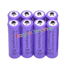 8x AA 3000mAh 2A 1.2 V Ni-MH Purple Rechargeable Battery Cell for MP3 RC Toys
