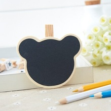 1PCS/LOT Freeshipping New Cute shape Small Wooden clip Wooden Blackboard Clip Paper Clip board Message Folders FashionGifts