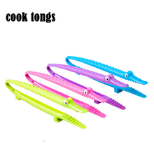 New PP food tongs Salad Bread Scallop Buffet Clip vivid crocodile Sawtooth anti-slip cooking tongs heat/cold resistant Cook Tong