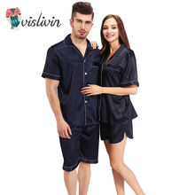 Vislivin Summer Men Women Unisex Silk Pajama Sets Spring Elegantcollar Brief lapel Short-sleeve Tops +Shorts Sleep Set(China)