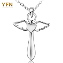 YFN Genuine 925 Sterling Silver Cross Necklace Fashion Jewelry Angel Wings with A Heart Pendant Necklace Holiday Sale GNX8780