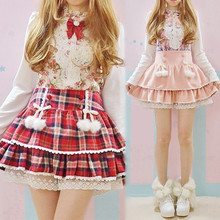2016 Autumn/Winter Red Plaid& Pink Skorts Cute Japanese lace Lolita skirt for Young Teens Women Lace hem Sweet Kawaii