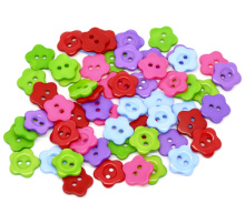 Hoomall 200PCs Mixed Flower Resin Buttons Scrapbooking 14mm Sewing Accessories