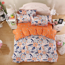 Home textile bedding set king duvet cover set five size orange flower printed adult bedding queen bed sheet for Spring Summer