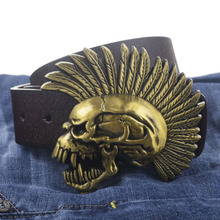 Street Fighter Skull buckle PU leather belt big buckle man belts free shipping fashion great leather belt 7584(China)