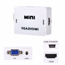 NEW Mini VGA to HDMI HD 1080P VGA to HDMI Converter With Audio Adapter Connector For Projector PC Laptop