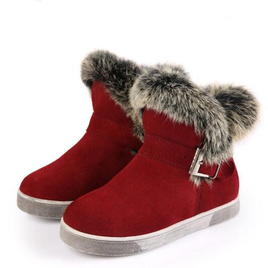 Winter Thick Plush Genuine Leather Children Shoes Girls Fashion Rabbit hair Warm Snow Boots Student Ankle Boots Leather 04<br><br>Aliexpress