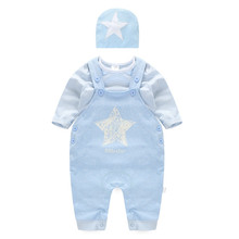 Sports Cotton  Baby Boy Clothes Set Stripped and Star Pattern Including Cap & T-Shirt & Jumpsuit Infant Baby Wear