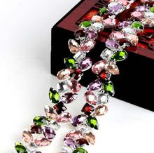 1 yard Colorful flower chain Rhinestone Cup Chain With Claw for headdress clothing accessories DIY jewelry accessories TRC053