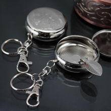 Outdoors Mini Round Cigarette Keychain Portable Ashtrays Stainless Steel Pocket Ashtray(China)