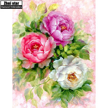 Zhui star 5d diy diamond embroidery peony flower diamond painting Cross Stitch full square drill Rhinestone mosaic decoration ZX