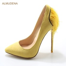 ALMUDENA Women Purple Yellow Suede Pumps Super Thin High Heel Pointed ToeTassel Shoes Graceful Back Fringe Party Footwear(China)