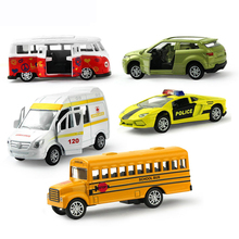 5Pcs 1:64 Pull Back Alloy Car Toy Openable Doors Mini School Bus Ambulance Diecast Module Educational Toys for Kids Gifts(China)