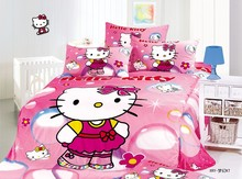 Hello Kitty printed bedding sets single twin size bedspread duvet covers sheets cotton 400TC girls baby bedroom decor pink color
