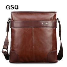 GSQ Fashion Genuine Leather Men Bag Hot Sale Men's Shoulder Bag Leather Business Briefcase Crossbody Messenger Bag For Men G1685(China)