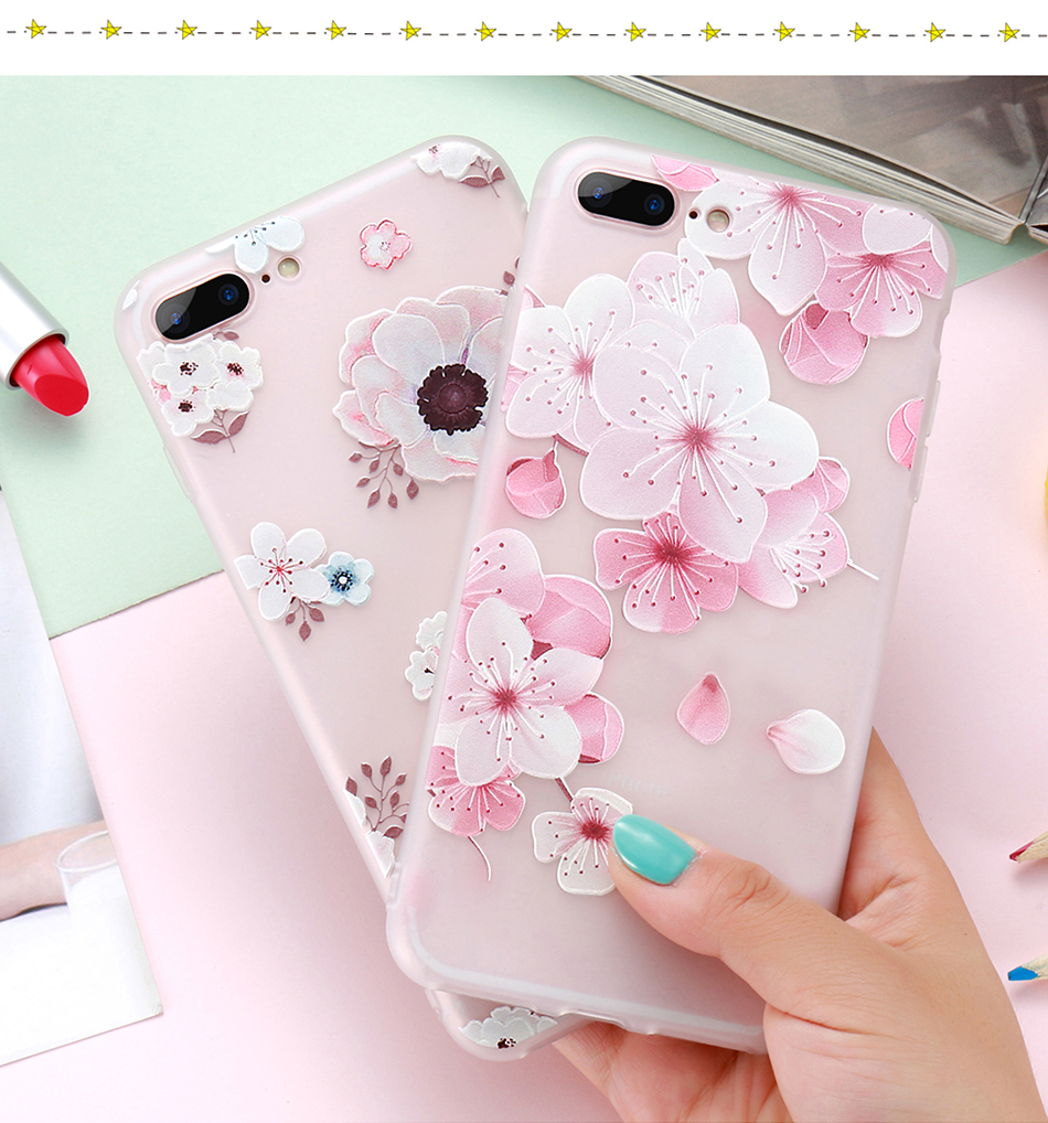 flower patterned case for iPhone 6 6s 7 Plus (8)
