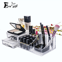 Crystal Cosmetic Organizer with drawer Clear Makeup Jewelry Cosmetic Storage Display Box Acrylic Case Stand Rack Holder