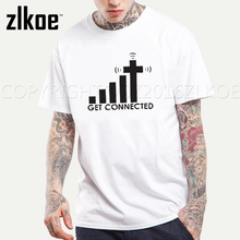 Get Connected To Jesus T Shirt Design Creative Pattern T-shirt Cool Casual Novelty Funny T shirt Top Tee plus size men clothing