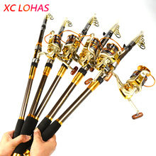 Most Cost-effective Telescopic Carbon Fishing Rod and Metal Head Spinning Reel Set Fishing Rod Combo 2.1M 2.4M 2.7M 3.0M 3.6M(China)