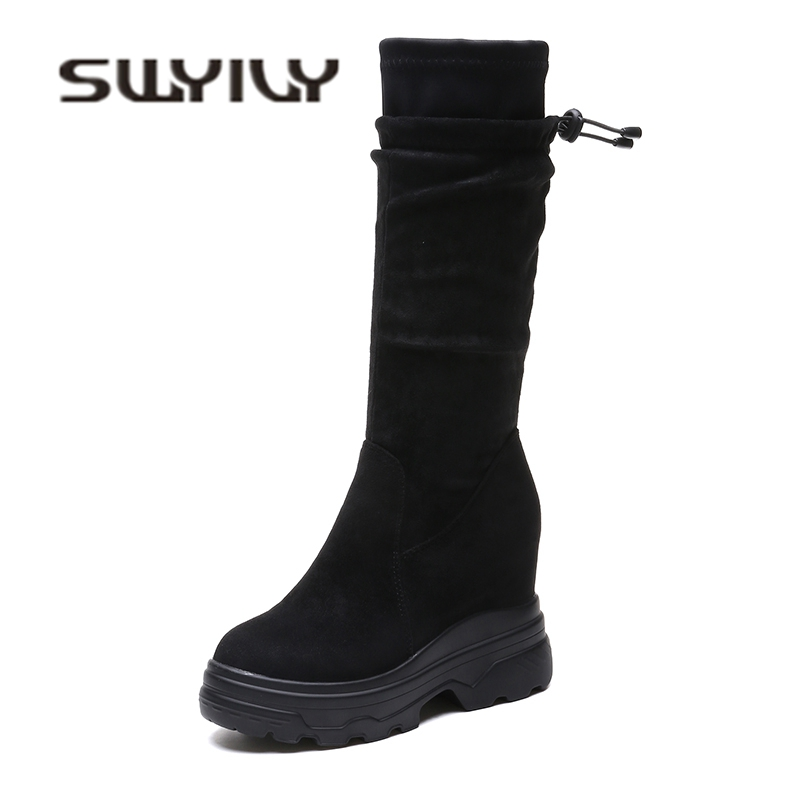 SWYIVY Woman Boots Mid Calf Platform Wedge 2018 Velvet Fur Warm Female Casual Shoes Comfortable Thick Bottom Snow Boots Woman