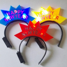 2017 New Children Girls Flashing Crown Headband LED Light Up Happy New Year Hair Band Party Dress Hair Decoration(China)