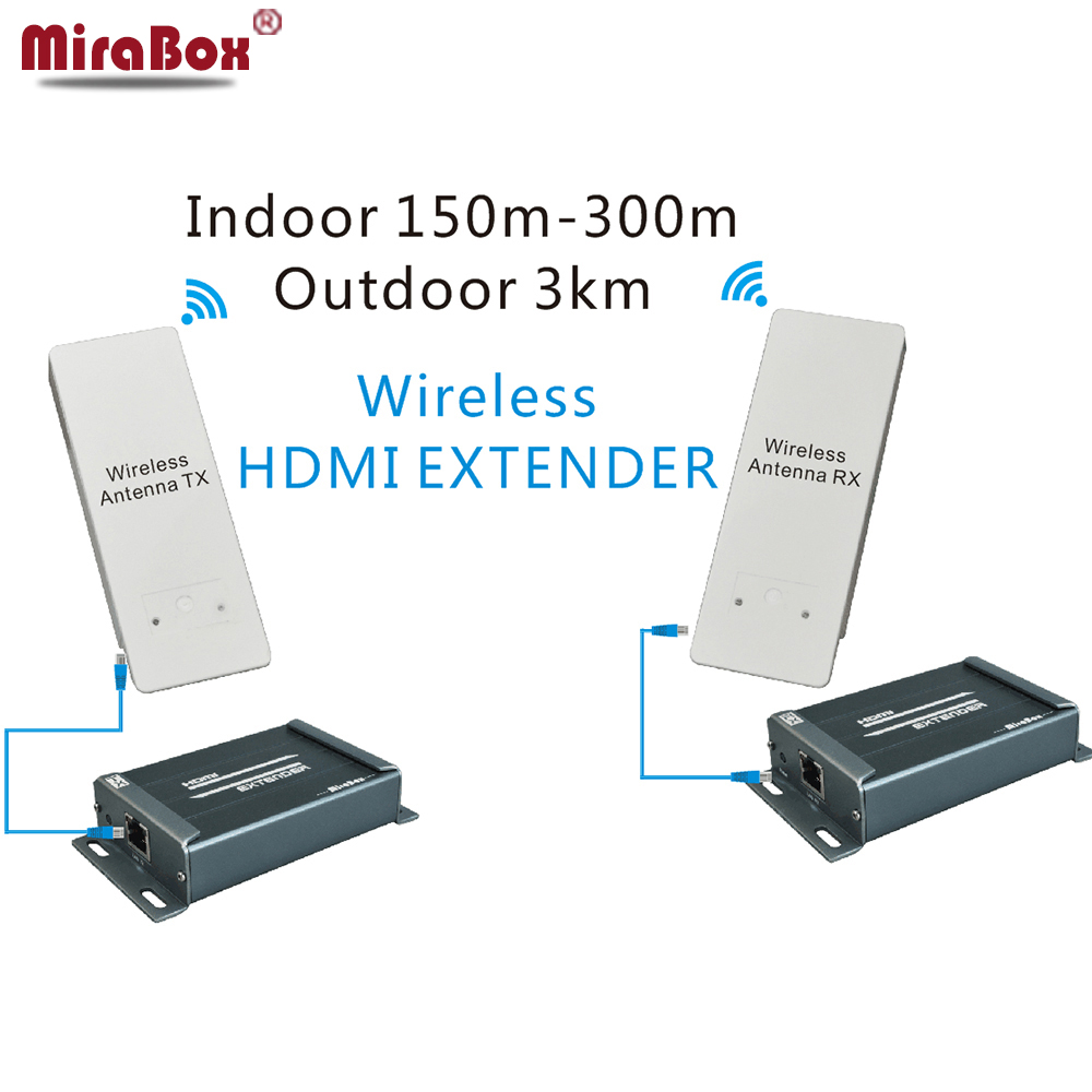 MiraBox Wireless HDMI Extender outdoor 3000m indoor 150m DUAL Antenna Supporting Full HD 1080P IR Wifi HDMI Transmission (4)