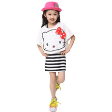 2017 New Summer Teen Girls Casual Sports Dress Cute Cats Print Tops and Vest Stripe Dresses 4-20 Years Women Daughter Clothing