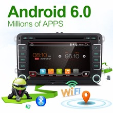 2 Two Din Aux GPS Quad 4 Core Android 6.0 Car DVD Player TV For VW Skoda POLO GOLF 5 6 PASSAT CC JETTA TIGUAN TOURAN Fabia Caddy