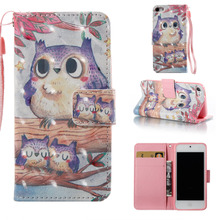 Cute Purple Owl Design 3D Colorful Leather Wallet Flip Stand Pouch Skin Case For Apple iPod Touch 5 5th 6 6th Funda Coque Capa(China)