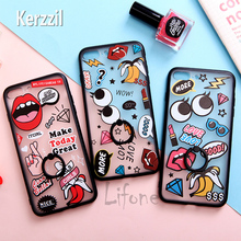 Kerzzil Funny Red Lip Big Eyes Holder Silicone + PC Hard cell phone Case For iPhone 6 6s 7 Plus coque Stand Cover Back lina