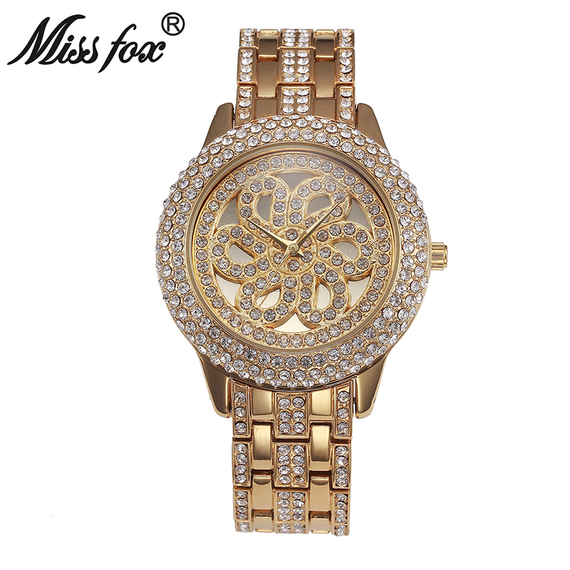 Miss Fox New Rose Flower Watch Woman Ladies Famous Brand Watches Women Luxury Brand Watches Rhinestone Gold Hours Girl For Gift(China (Mainland))